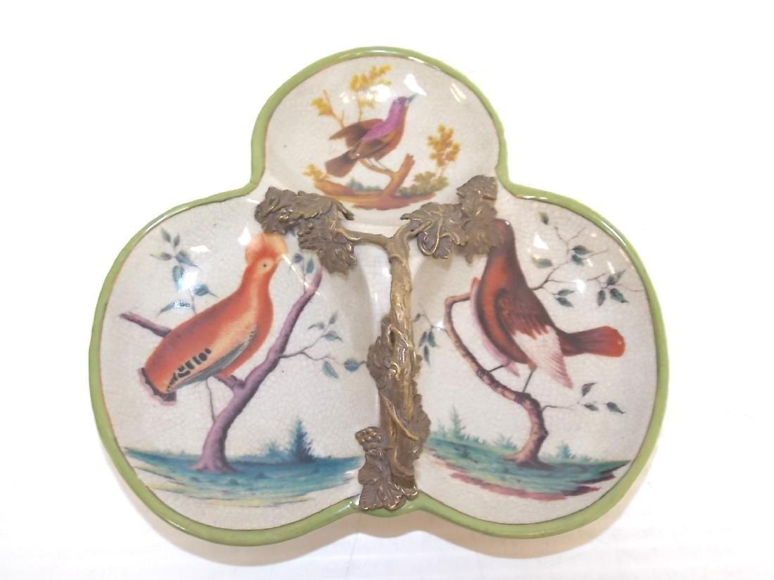 ART NOUVEAU STYLE PORCELAIN & BRONZE BIRD CANDY DISH