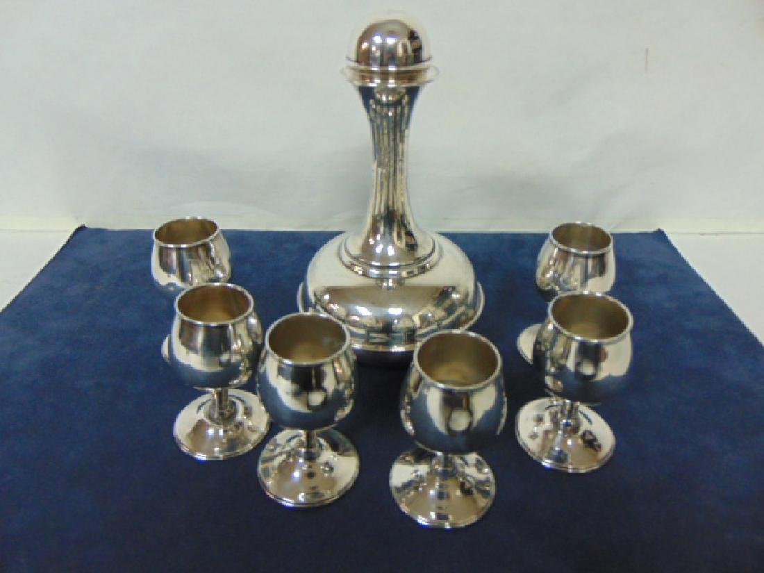 VINTAGE TAXCO STERLING SILVER .925 DECANTER W/ 6 CUPS