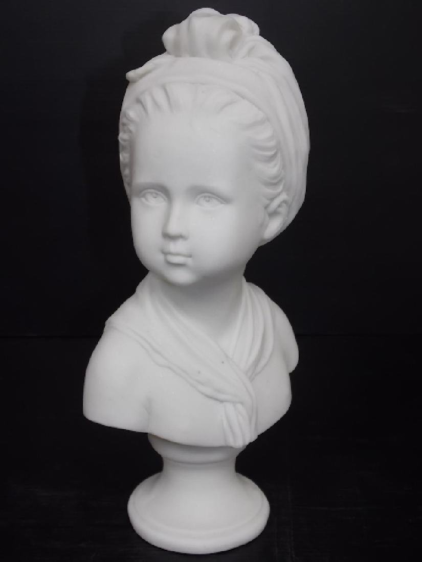 VICTORIAN BUST STATUE OF LITTLE GIRL W/ MARBLE FINISH - 2