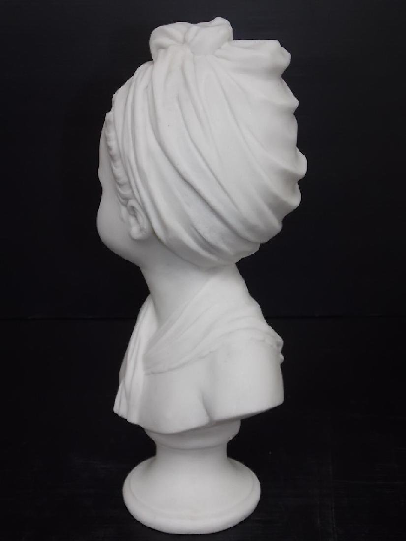 VICTORIAN BUST STATUE OF LITTLE GIRL W/ MARBLE FINISH - 3