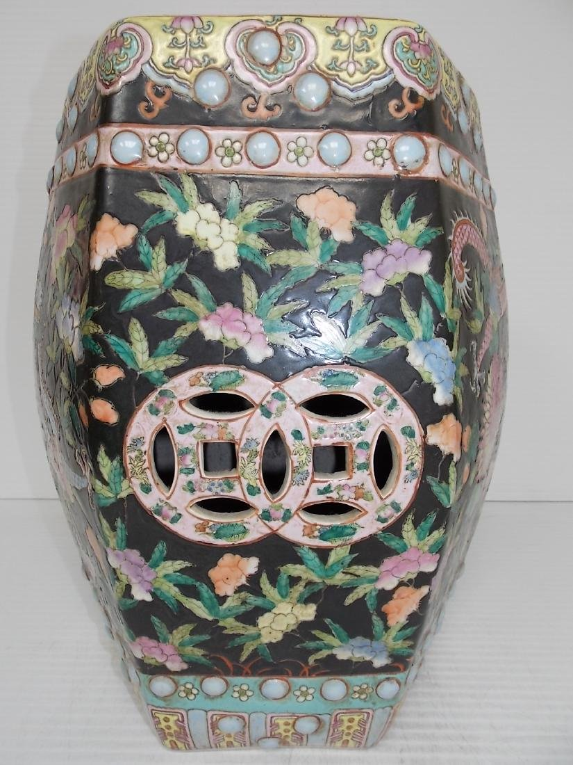 ANTIQUE HAND PAINTED CHINESE PORCELAIN GARDEN STOOL - 3