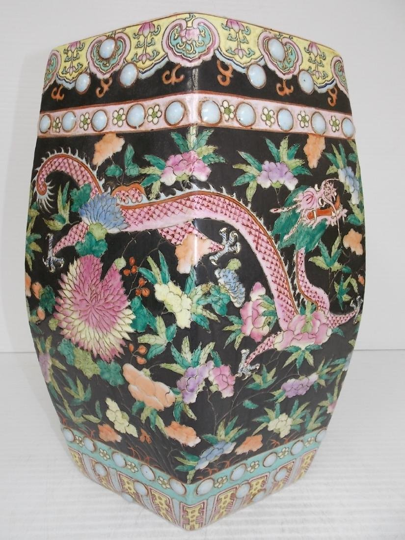 ANTIQUE HAND PAINTED CHINESE PORCELAIN GARDEN STOOL - 4