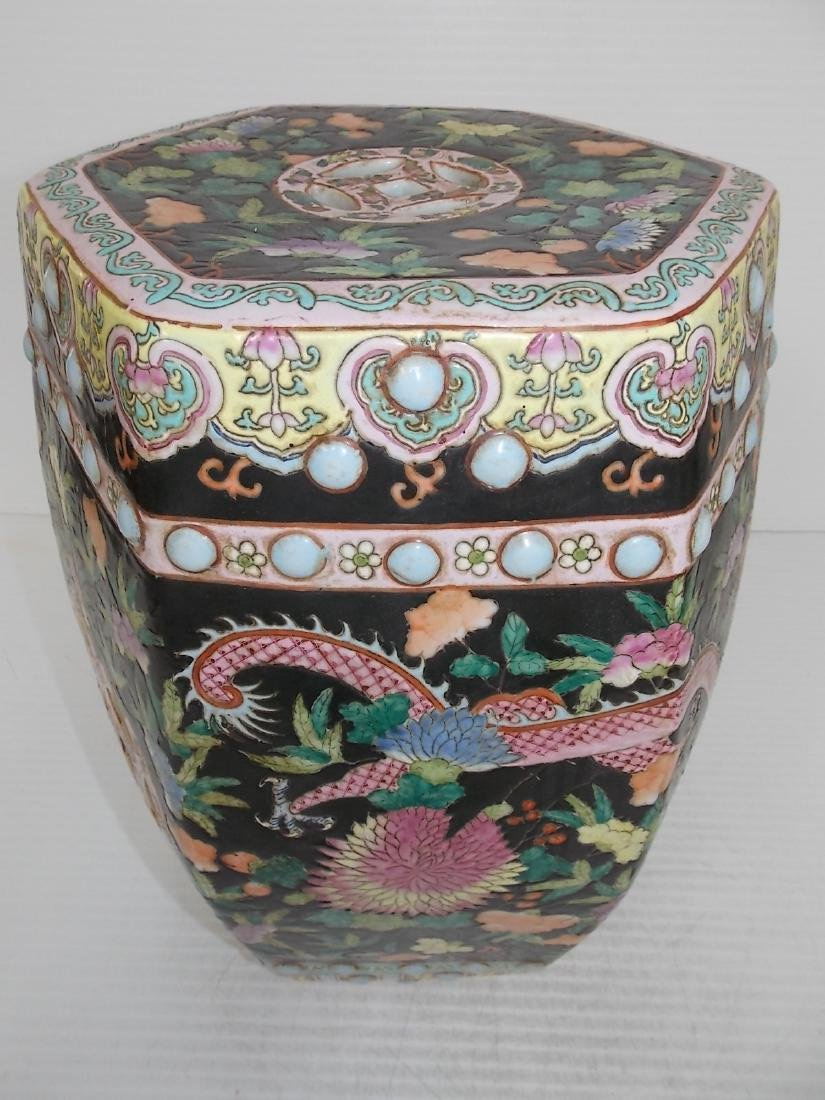 ANTIQUE HAND PAINTED CHINESE PORCELAIN GARDEN STOOL - 5