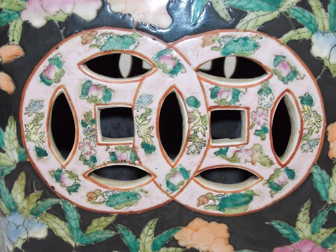 ANTIQUE HAND PAINTED CHINESE PORCELAIN GARDEN STOOL - 8