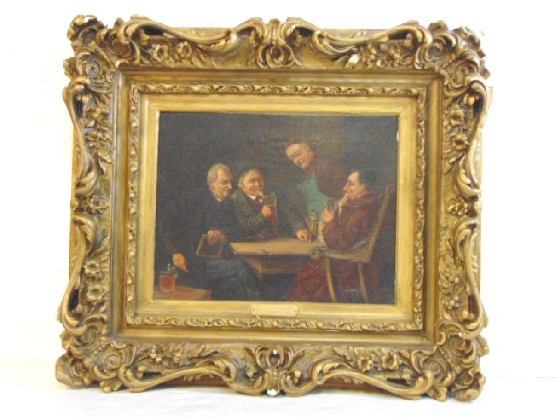 Antique Oil Painting of Monks Drinking & Playing Cards