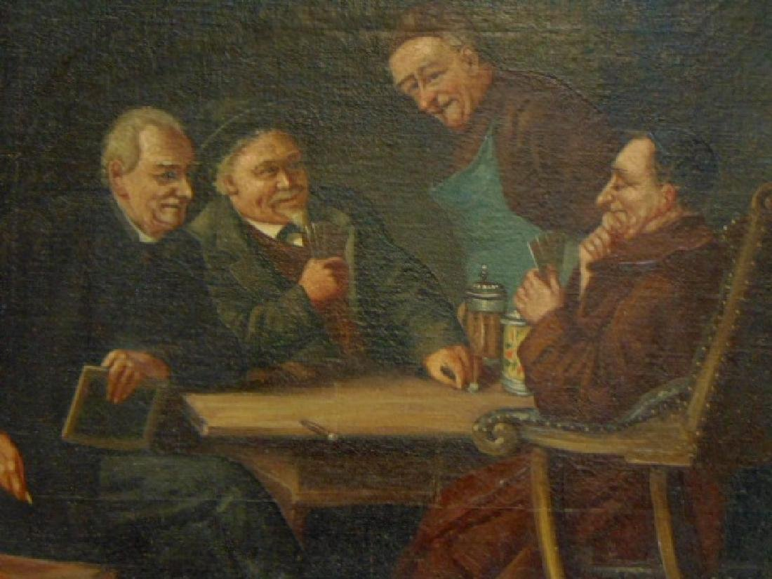 Antique Oil Painting of Monks Drinking & Playing Cards - 2