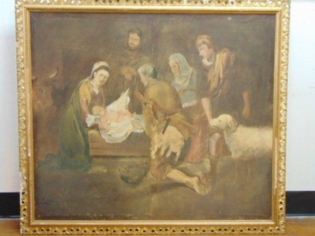 Huge Antique Painting of Jesus in Manger