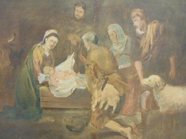 Huge Antique Painting of Jesus in Manger - 2