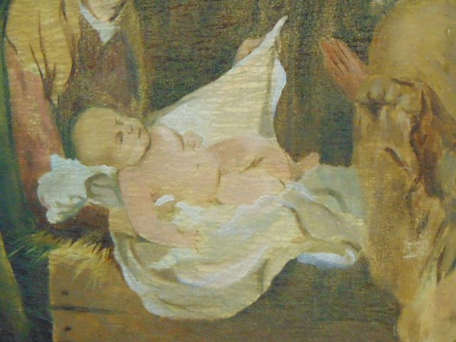Huge Antique Painting of Jesus in Manger - 3