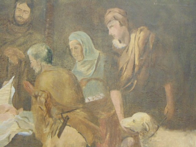 Huge Antique Painting of Jesus in Manger - 4