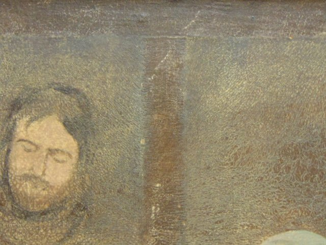 Huge Antique Painting of Jesus in Manger - 6