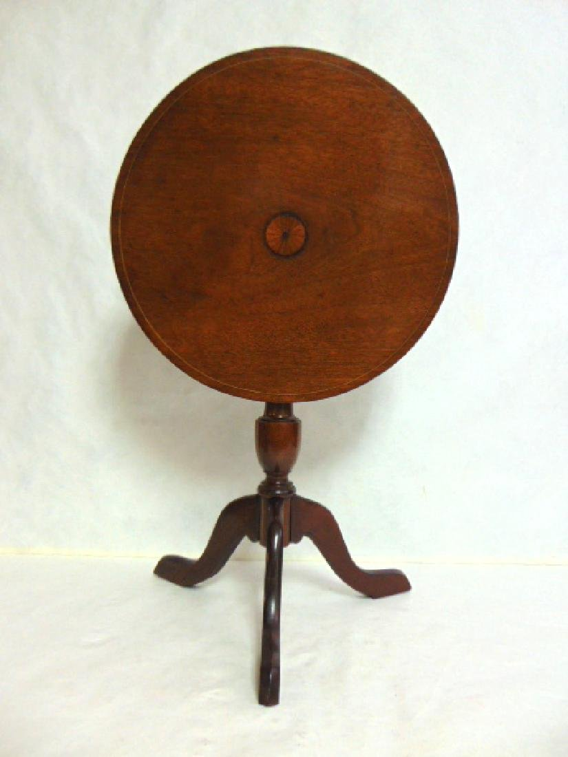 ANTIQUE MAHOGANY INLAID TILT TOP CANDLE STAND