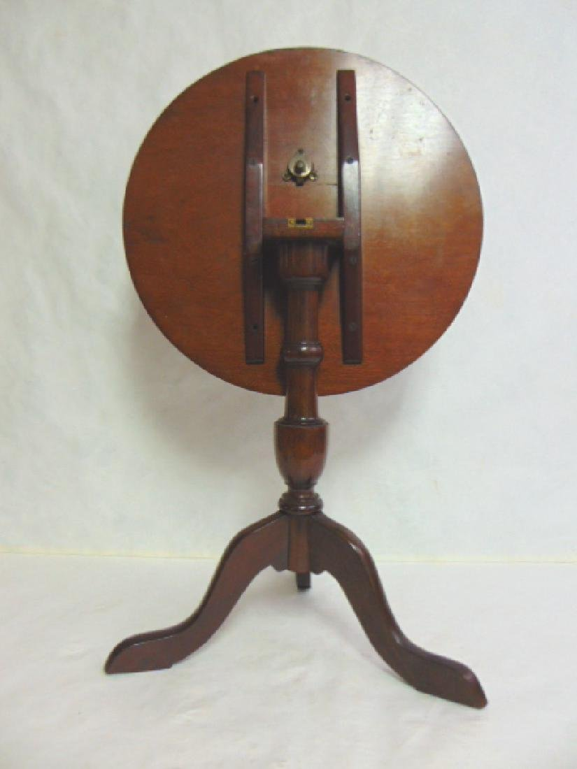 ANTIQUE MAHOGANY INLAID TILT TOP CANDLE STAND - 5