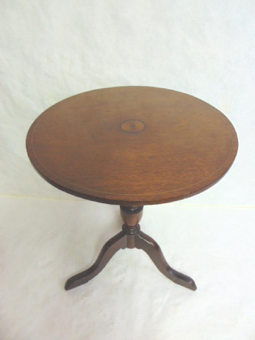 ANTIQUE MAHOGANY INLAID TILT TOP CANDLE STAND - 7
