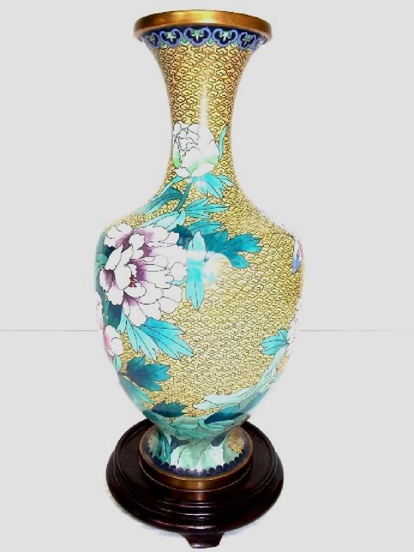 DECORATIVE CHINESE ASIAN CLOISONNE VASE - 2