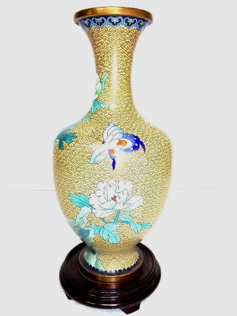 DECORATIVE CHINESE ASIAN CLOISONNE VASE - 3