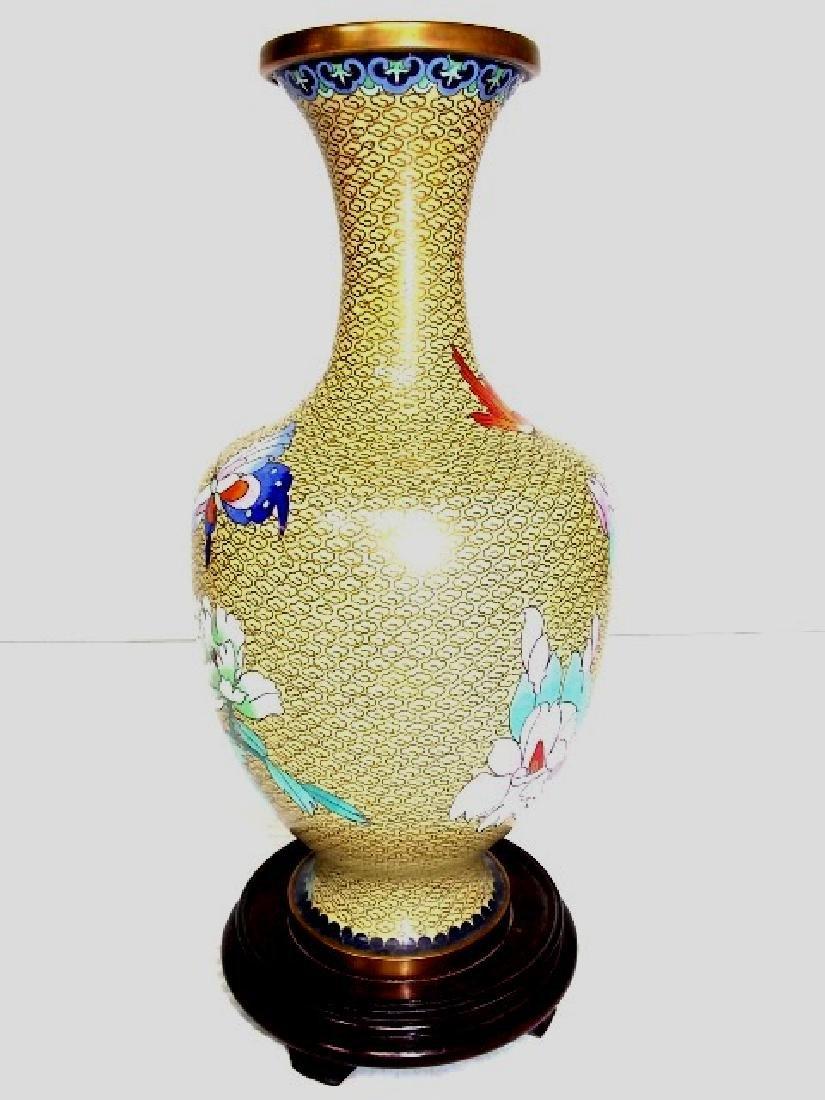 DECORATIVE CHINESE ASIAN CLOISONNE VASE - 4