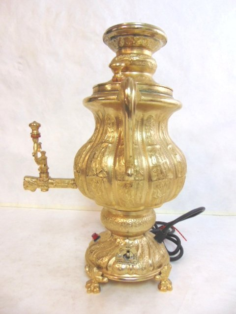 Vintage Persian Brass Zanjani Samovar w/ Pitcher - 10