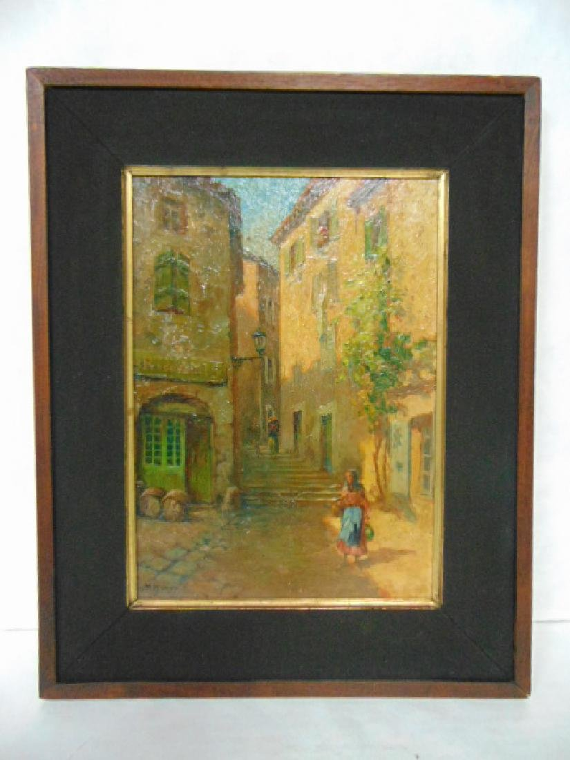 ANTIQUE OIL ON BOARD PAINTING EUROPEAN SCENE SIGNED
