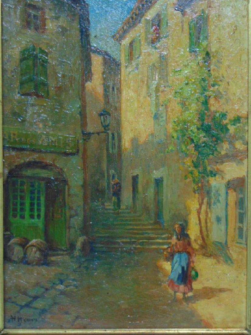 ANTIQUE OIL ON BOARD PAINTING EUROPEAN SCENE SIGNED - 2