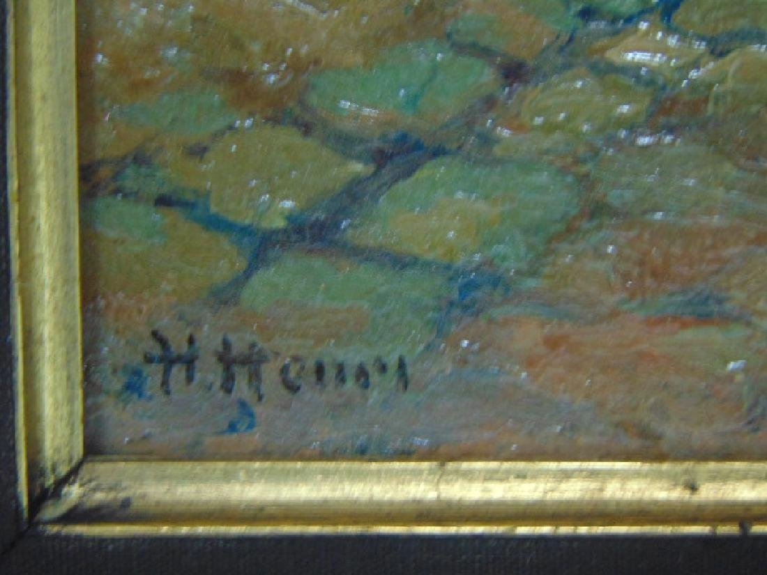 ANTIQUE OIL ON BOARD PAINTING EUROPEAN SCENE SIGNED - 3