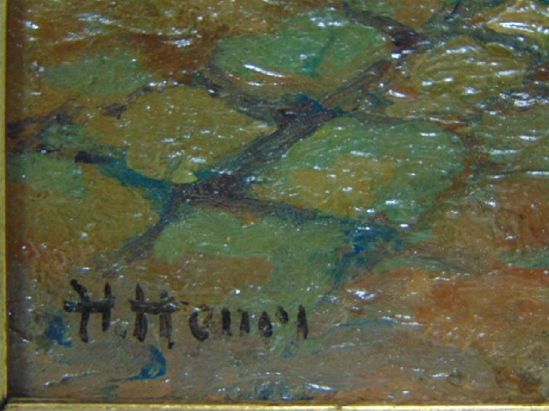 ANTIQUE OIL ON BOARD PAINTING EUROPEAN SCENE SIGNED - 4
