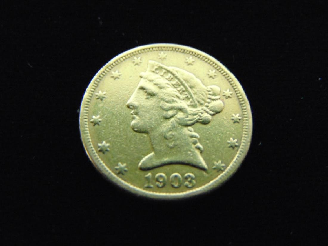 ESTATE FIND 1903-S $5 LIBERTY HALF EAGLE GOLD COIN