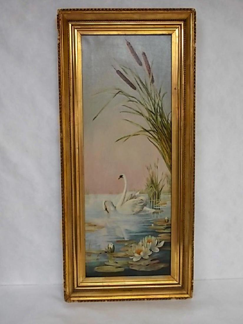 VINTAGE ANTIQUE VICTORIAN OIL PAINTING OF SWANS