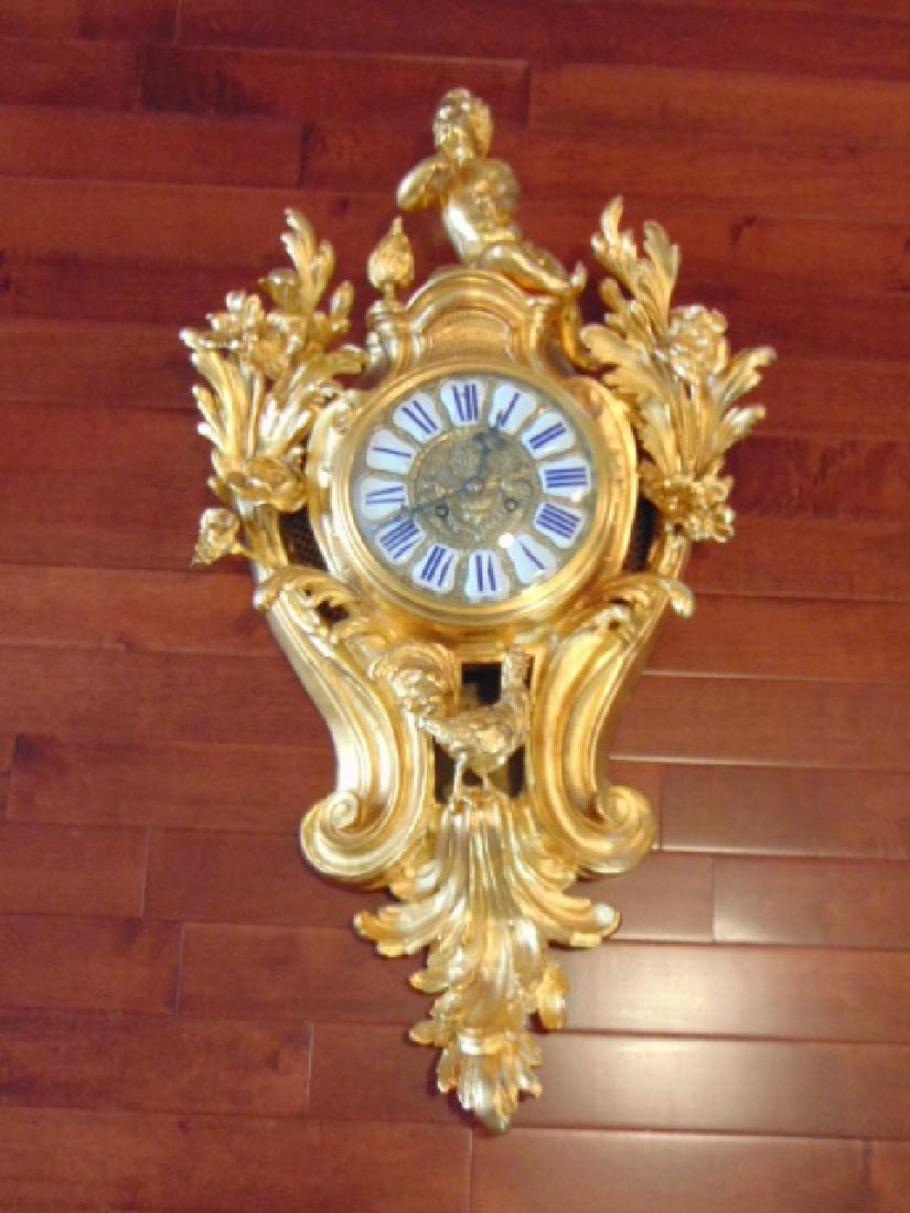 Antique 19th C. French Ormolu G. Philippe Wall Clock