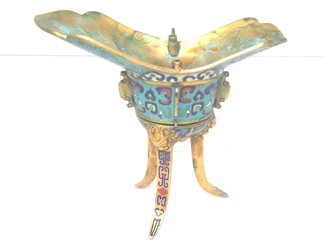 ANTIQUE CHINESE CLOISONNE CEREMONIAL CUP - 3