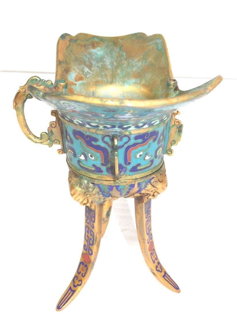 ANTIQUE CHINESE CLOISONNE CEREMONIAL CUP - 5