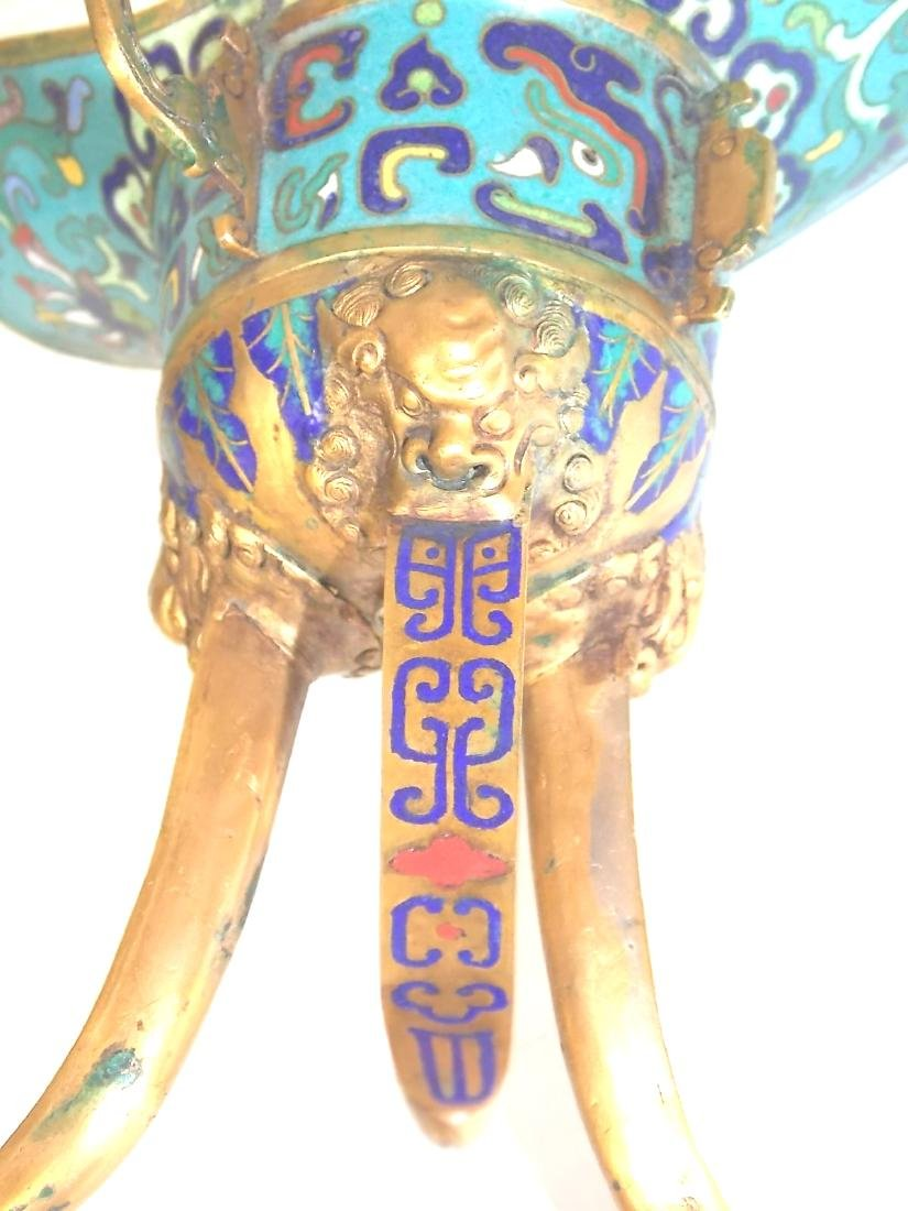 ANTIQUE CHINESE CLOISONNE CEREMONIAL CUP - 6