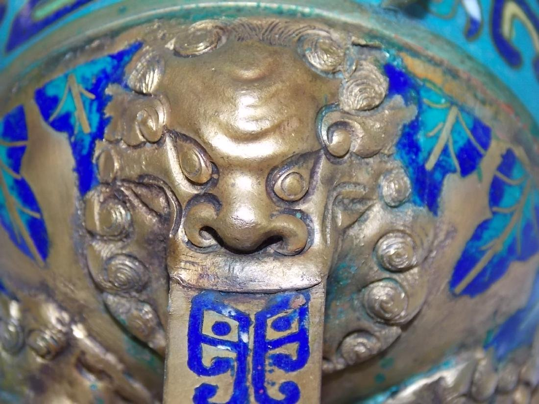 ANTIQUE CHINESE CLOISONNE CEREMONIAL CUP - 7