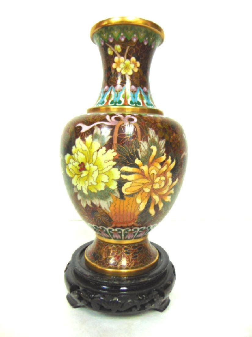 COLORFUL VINTAGE CHINESE CLOISONNE VASE W/ STAND