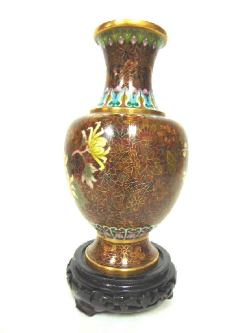 COLORFUL VINTAGE CHINESE CLOISONNE VASE W/ STAND - 2