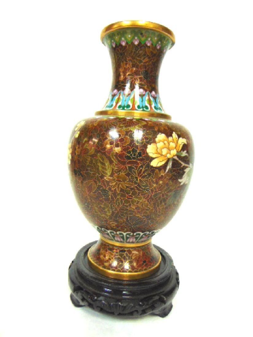 COLORFUL VINTAGE CHINESE CLOISONNE VASE W/ STAND - 4