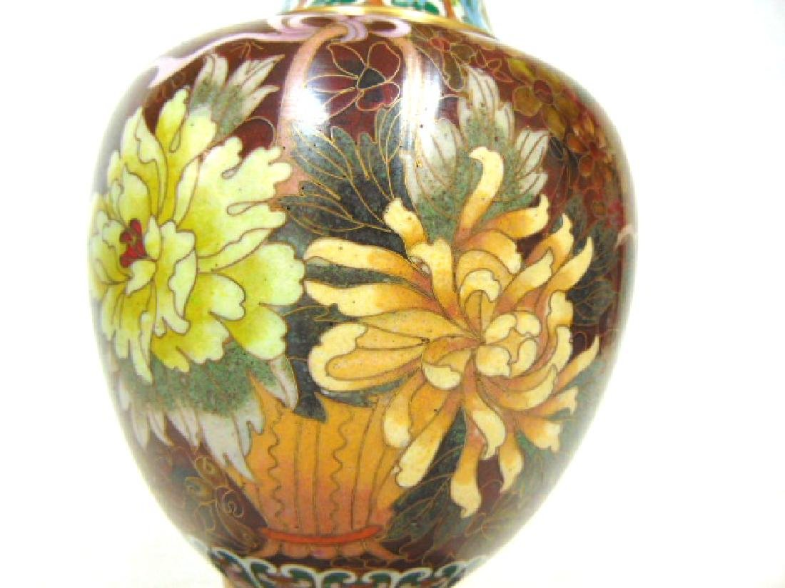 COLORFUL VINTAGE CHINESE CLOISONNE VASE W/ STAND - 5
