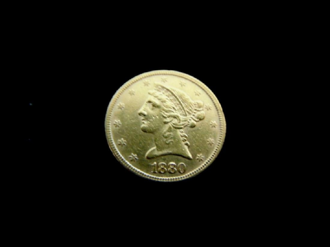 ESTATE FIND 1880 $5 LIBERTY HALF EAGLE GOLD COIN