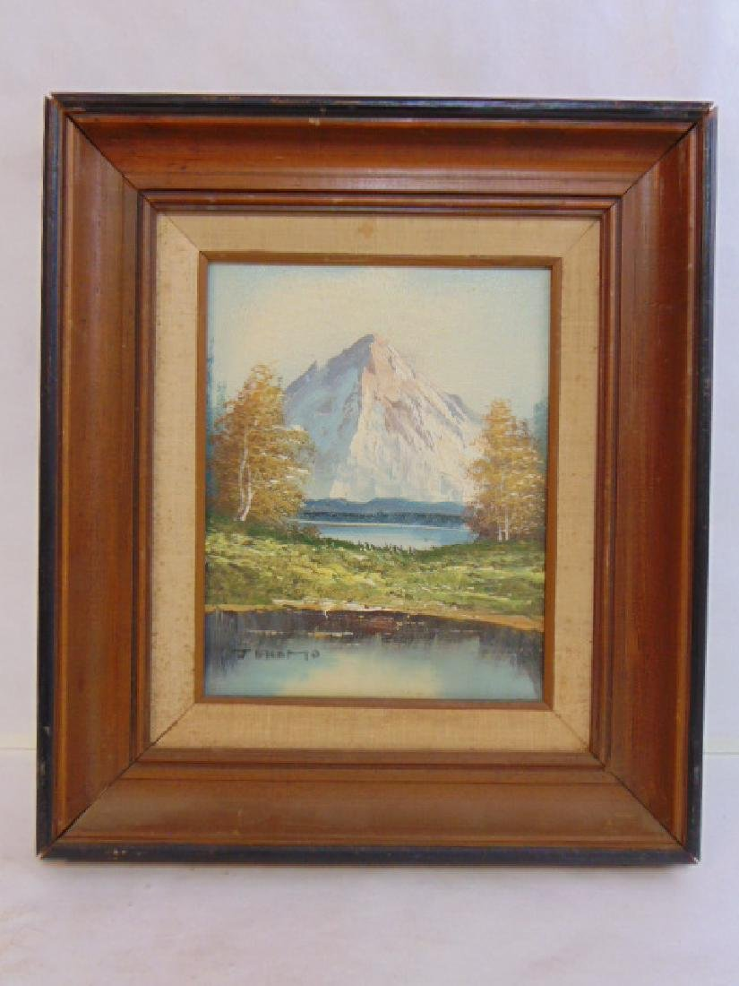 VINTAGE OIL ON CANVAS MOUNTAIN SCENE PAINTING SIGNED