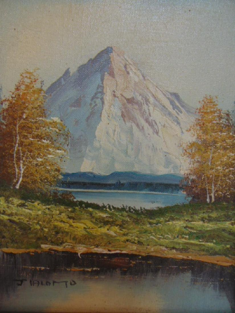 VINTAGE OIL ON CANVAS MOUNTAIN SCENE PAINTING SIGNED - 2