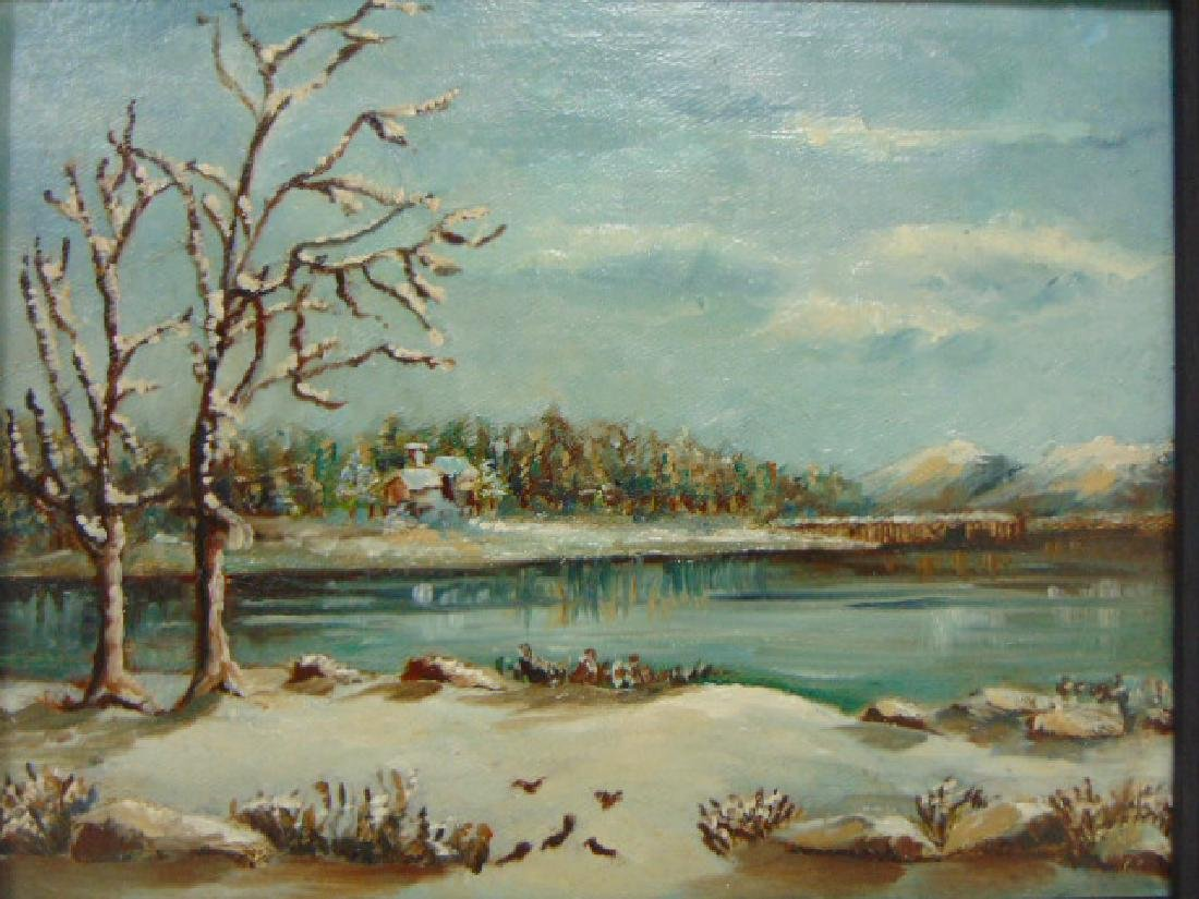 ANTIQUE OIL ON BOARD PAINTING OF A WINTER LAKE SCENE - 2