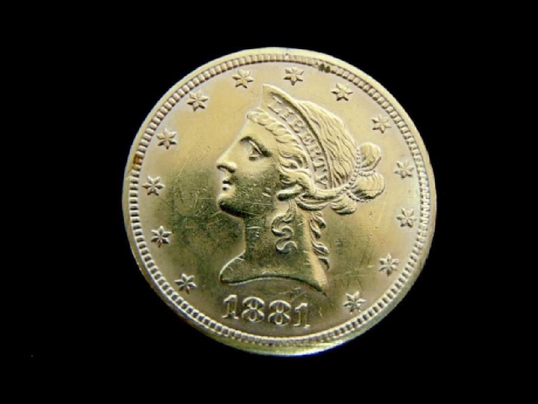 Antique Estate Find 1881 U.S. $10 Gold Liberty Coin