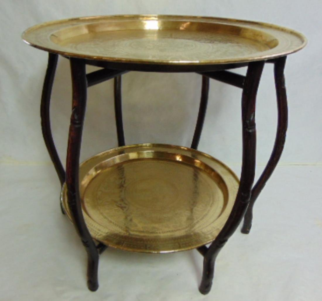VINTAGE ANTIQUE ? CHINESE BRASS TEA TABLE TRAYS