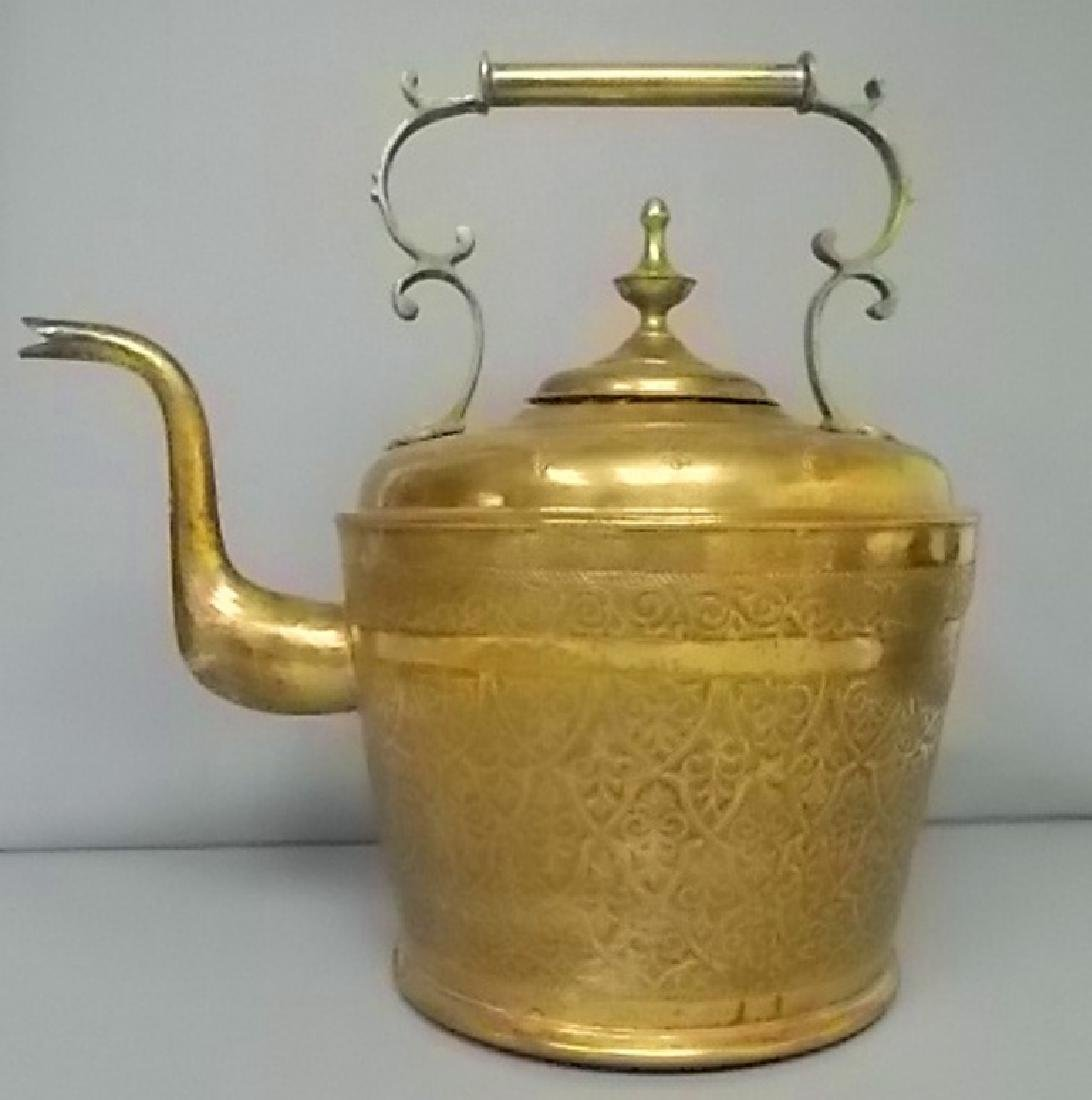 HUGE ANTIQUE PERSIAN ISLAMIC BRASS TEAPOT