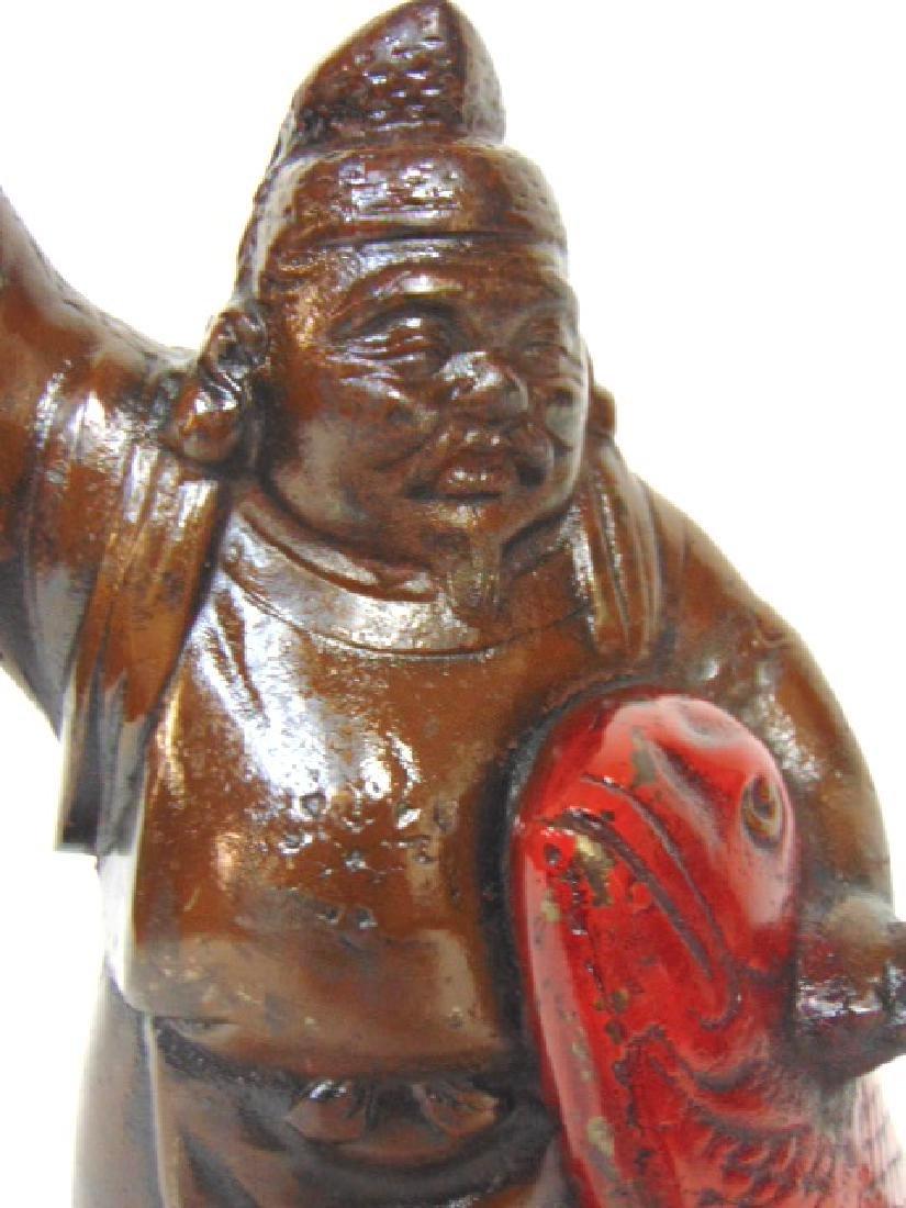 RARE ANTIQUE CAST IRON CHINESE FISHERMAN DOORSTOP - 2