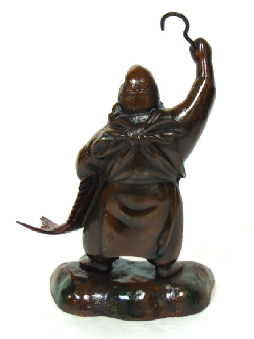 RARE ANTIQUE CAST IRON CHINESE FISHERMAN DOORSTOP - 3