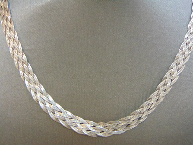 VINTAGE STERLING SILVER ITALIAN BRAIDED NECKLACE