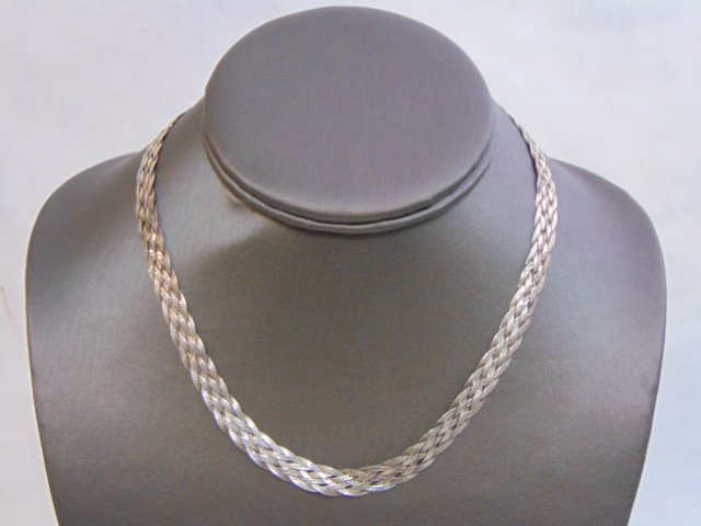 VINTAGE STERLING SILVER ITALIAN BRAIDED NECKLACE - 2