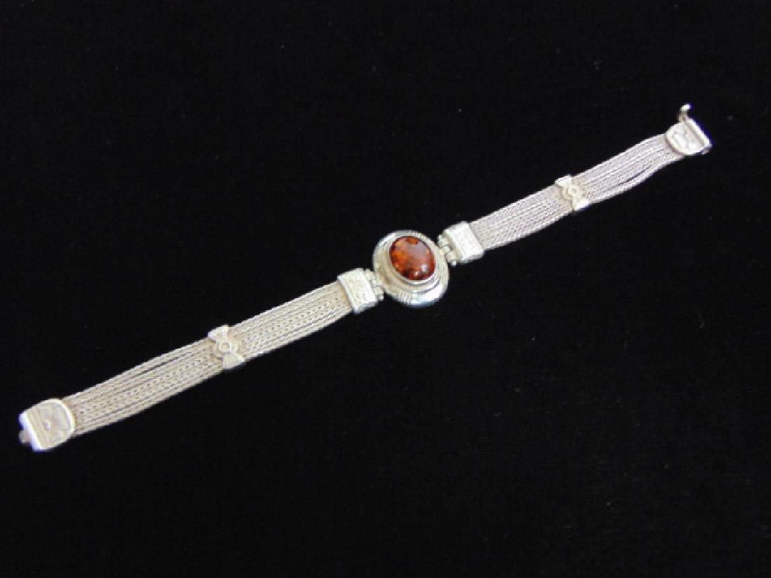 Vintage Estate Sterling Silver Baltic Amber Bracelet