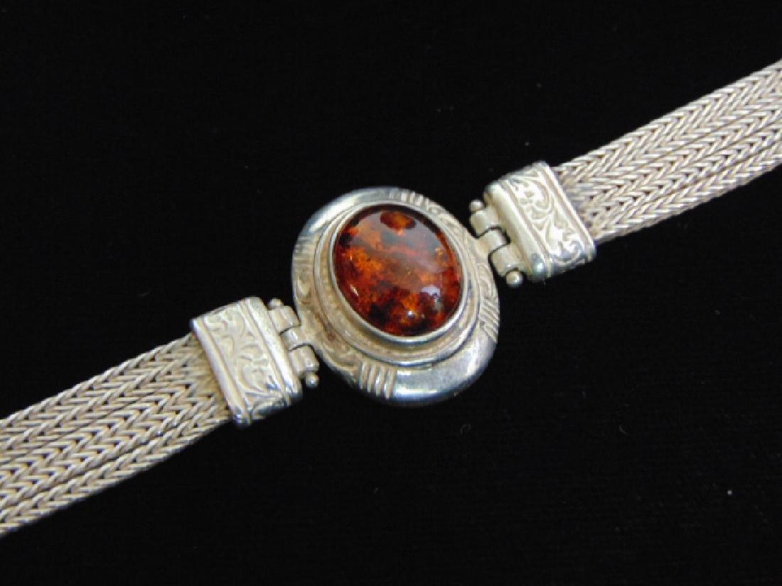 Vintage Estate Sterling Silver Baltic Amber Bracelet - 2
